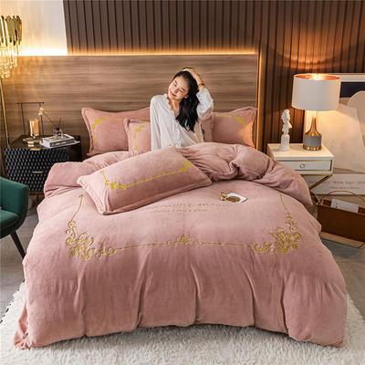 2020新款牛奶绒刺绣系列四件套-锐绒 1.2m床单款三件套 锐绒-紫豆沙