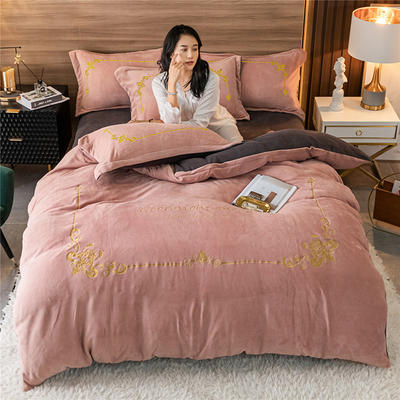2020新款牛奶绒刺绣系列四件套-锐绒 1.2m床单款三件套 锐绒-紫豆沙+高级灰