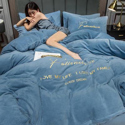 2020新款亲肤牛奶绒刺绣四件套-福绒 1.8m床单款四件套 福绒-宾利蓝