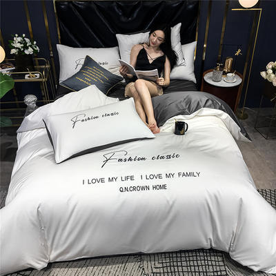 2020新款亲肤洛卡棉系列四件套-梵 1.8m床单款四件套 梵-本白+高级灰