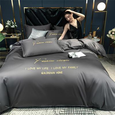 2020新款亲肤洛卡棉系列四件套-梵 1.5m床单款四件套 梵-高级灰