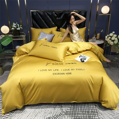 2020新款亲肤洛卡棉系列四件套-梵 1.8m床单款四件套 梵-姜黄