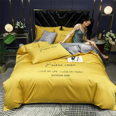 2020新款亲肤洛卡棉系列四件套-梵 1.8m床单款四件套 梵-姜黄+高级灰