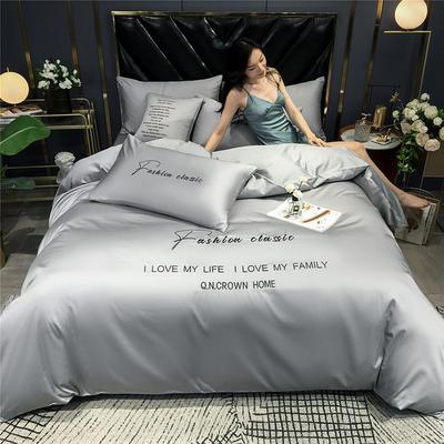 2020新款亲肤洛卡棉系列四件套-梵 1.8m床单款四件套 梵-浅灰