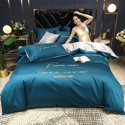 2020新款亲肤洛卡棉系列四件套-梵 1.8m床单款四件套 梵-月光蓝+浅灰