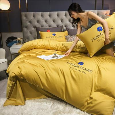 2020新款洛卡棉刺绣系列四件套-靓 1.8m床单款四件套 靓-姜黄