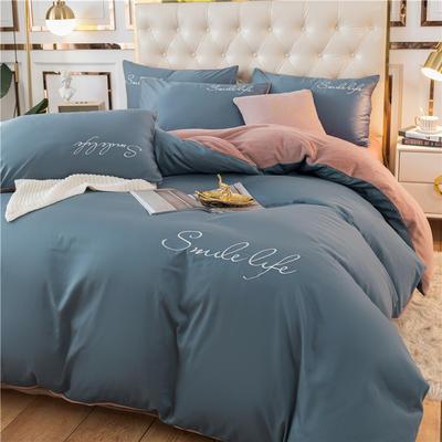 2020新款洛卡棉+绒系列四件套 1.5m床单款四件套 棉绒-宾利蓝