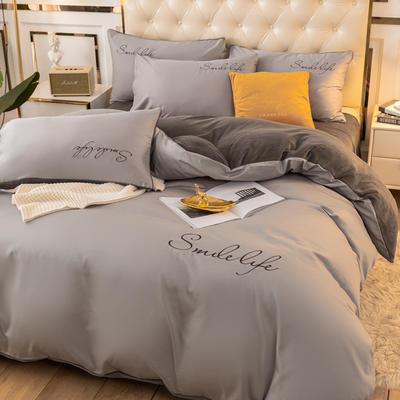 2020新款洛卡棉+绒系列四件套 1.8m床单款四件套 棉绒-浅灰