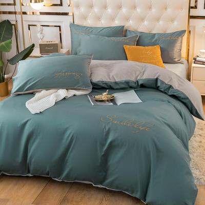2020新款洛卡棉+绒系列四件套 1.8m床单款四件套 棉绒-浅石蓝