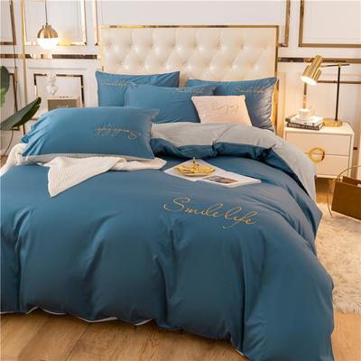 2020新款洛卡棉+绒系列四件套 1.8m床单款四件套 棉绒-月光蓝