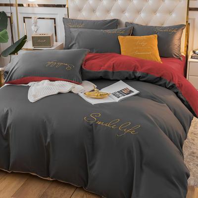 2020新款洛卡棉+绒系列四件套 1.8m床单款四件套 棉绒-高级灰+枣红