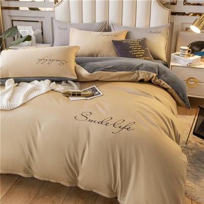 2020新款洛卡棉+绒系列四件套 1.8m床单款四件套 棉绒-奶咖