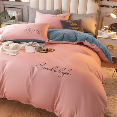 2020新款洛卡棉+绒系列四件套 1.8m床单款四件套 棉绒-藕粉+宾利蓝