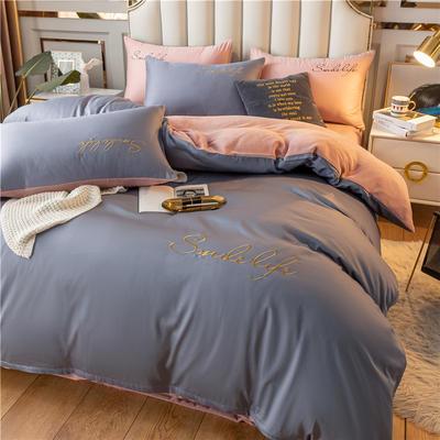 2021新款洛卡棉+绒系列被套四件套 单被套200*230cm 棉绒-紫灰