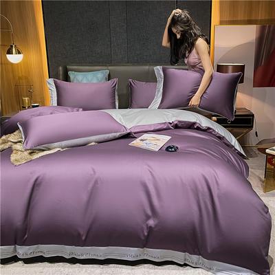 2021新款40全棉钰系列四件套系列 1.5m床单款四件套 钰-帝王紫