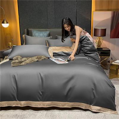 2021新款40全棉钰系列四件套系列 1.5m床单款四件套 钰-高级灰