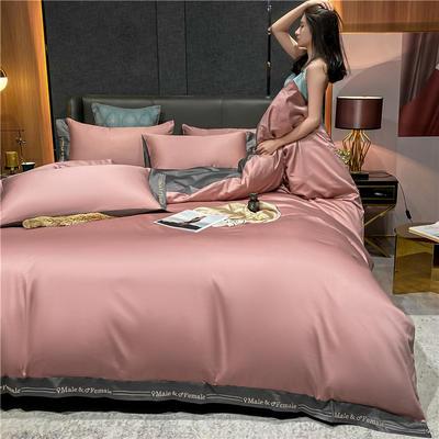 2021新款40全棉钰系列四件套系列 1.5m床单款四件套 钰-紫豆沙