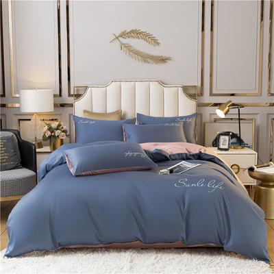 2021新款水洗棉双拼刺绣S款四件套 1.2m床单款三件套 S双拼-宾利蓝