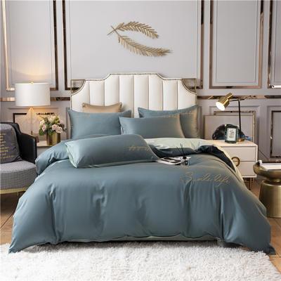 2021新款水洗棉双拼刺绣S款四件套 1.5m床单款四件套 S双拼-浅石蓝