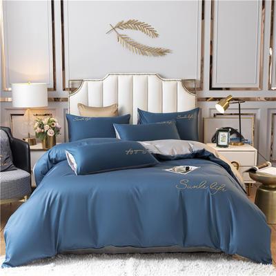 2021新款水洗棉双拼刺绣S款四件套 1.5m床单款四件套 S双拼-月光蓝