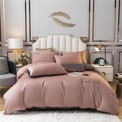 2021新款水洗棉双拼刺绣S款四件套 1.2m床单款三件套 S双拼-紫豆沙