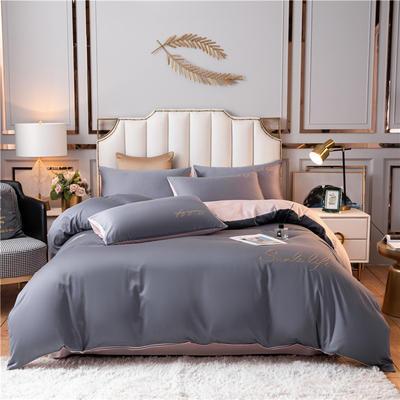 2021新款水洗棉双拼刺绣S款四件套 1.5m床单款四件套 S双拼-紫灰