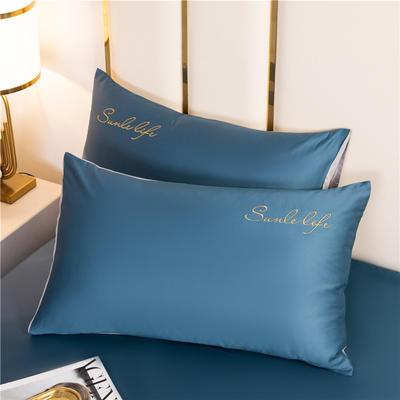 水洗棉-S单枕套 一对枕套 月光蓝