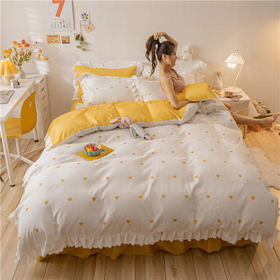 2021新款水洗棉花边公主风韩版四件套 1.5m床单款四件套 甜心-奶白黄