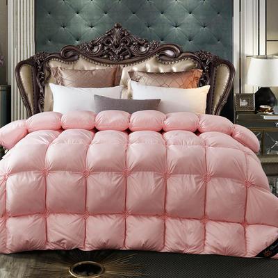 2020新款刺绣羽绒被鹅绒被 150x200cm 5斤 叠花粉色