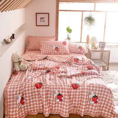 2020新款ins少女心韩版印花夏被四件套 120*150cm单夏被 草莓格