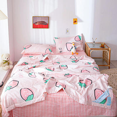 2020新款田园风纯棉印花夏被套件 单品夏被200x230cm 草莓童话-粉