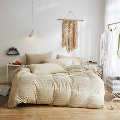 2020新款32S针织全棉A类绣花全棉针织棉四件套床上用品四件套 1.5m床单款四件套 黄绿条