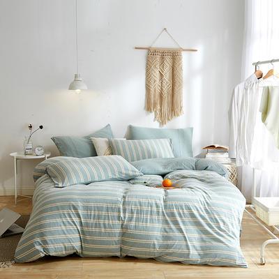 2020新款32S针织全棉A类绣花全棉针织棉四件套床上用品四件套 1.5m床单款四件套 绿色宽条