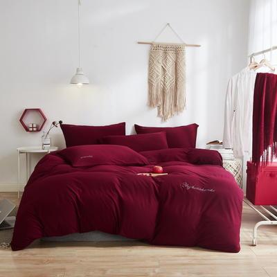 2020新款40S针织全棉A类绣花全棉针织棉四件套床上用品四件套 1.5m床单款四件套 大红