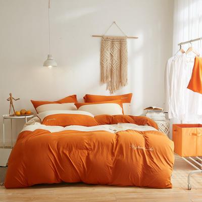 2020新款40S针织全棉A类绣花全棉针织棉四件套床上用品四件套 1.5m床单款四件套 橘色
