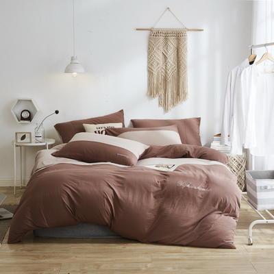 2020新款40S针织全棉A类绣花全棉针织棉四件套床上用品四件套 1.5m床单款四件套 双拼—豆沙