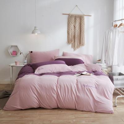 2020新款40S针织全棉A类绣花全棉针织棉四件套床上用品四件套 1.5m床单款四件套 双拼—酱紫