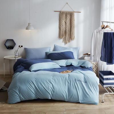 2020新款40S针织全棉A类绣花全棉针织棉四件套床上用品四件套 1.5m床单款四件套 双拼—深蓝
