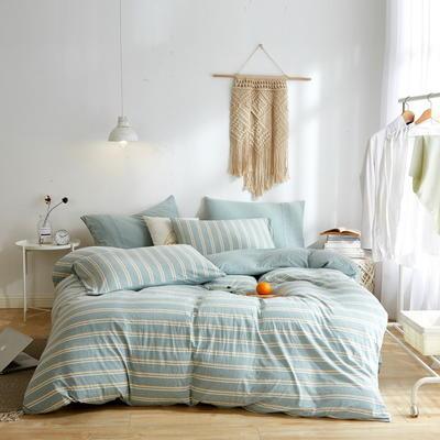 2020新款40S针织全棉A类绣花全棉针织棉四件套床上用品四件套 1.5m床单款四件套 条纹—薄荷绿