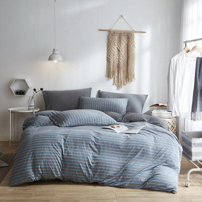 2020新款40S针织全棉A类绣花全棉针织棉四件套床上用品四件套 1.5m床单款四件套 条纹—浅灰