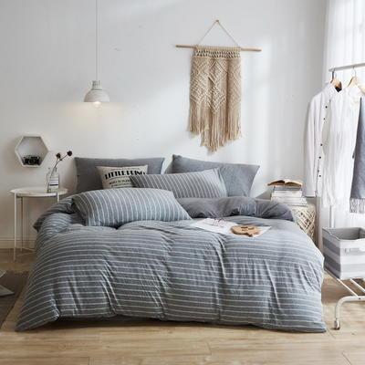 2020新款40S针织全棉A类绣花全棉针织棉四件套床上用品四件套 1.5m床单款四件套 条纹深灰