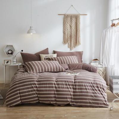 2020新款40S针织全棉A类绣花全棉针织棉四件套床上用品四件套 1.5m床单款四件套 条纹—深咖