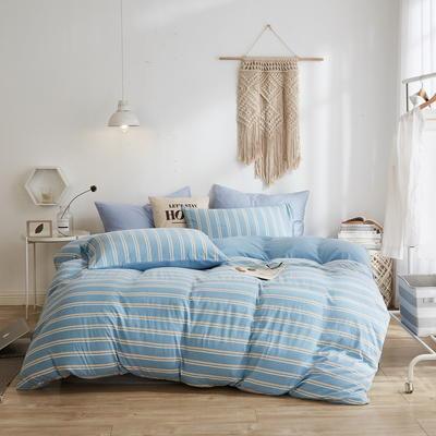2020新款40S针织全棉A类绣花全棉针织棉四件套床上用品四件套 1.5m床单款四件套 条纹—天蓝