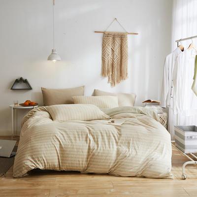 2020新款40S针织全棉A类绣花全棉针织棉四件套床上用品四件套 1.5m床单款四件套 驼色