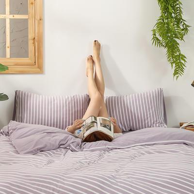 2020新款针织绒A类绣花全棉针织棉四件套床上用品四件套 1.5m床单款四件套 玛丽珍-浅紫