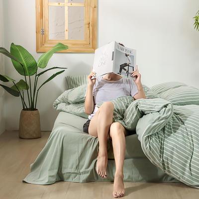 2020新款针织绒A类绣花全棉针织棉四件套床上用品四件套 1.5m床单款四件套 玛丽珍-清新绿
