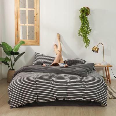 2020新款针织绒A类绣花全棉针织棉四件套床上用品四件套 1.5m床单款四件套 玛丽珍-深灰