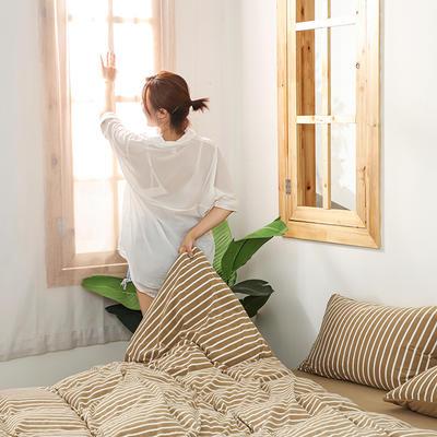 2020新款针织绒A类绣花全棉针织棉四件套床上用品四件套 1.5m床单款四件套 玛丽珍-太妃咖