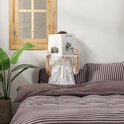2020新款针织绒A类绣花全棉针织棉四件套床上用品四件套 1.5m床单款四件套 玛丽珍-杏色