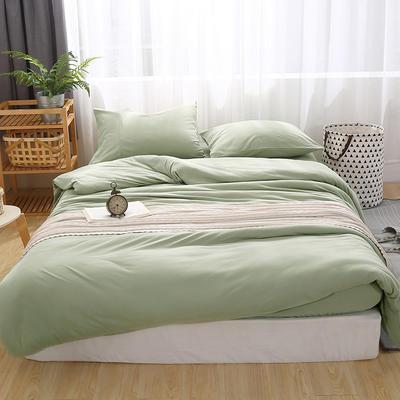 2020新品60S全棉磨毛A类绣花全棉针织棉四件套床上用品四件套 1.8m床单款四件套 浅绿